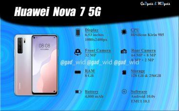 Huawei Nova 7 5G Specs Chart