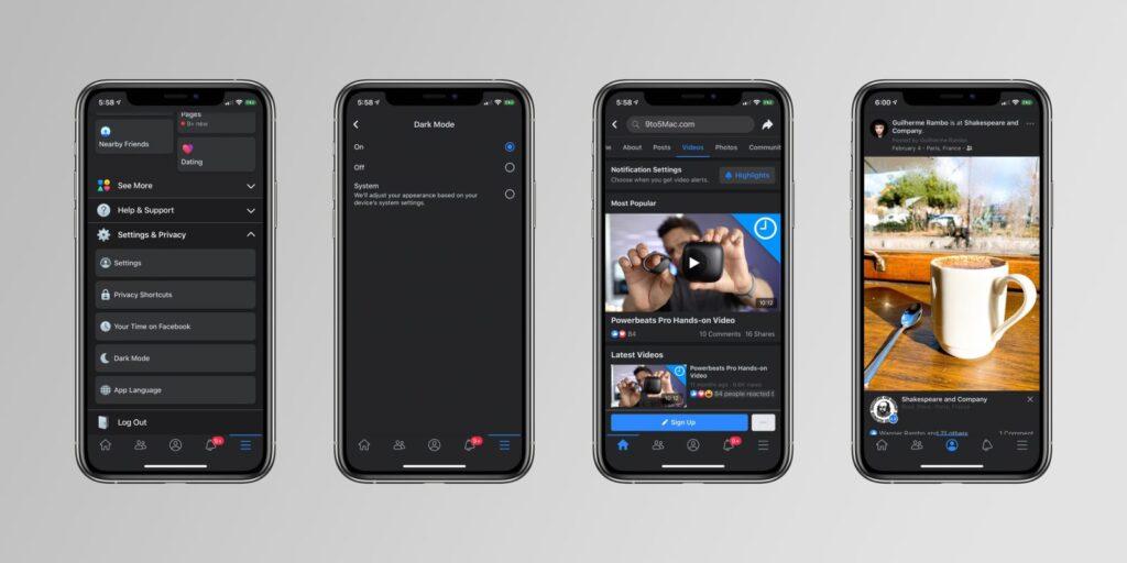 facebook dark mode ios, facebook dark mode enable, enable dark mode on facebook ios