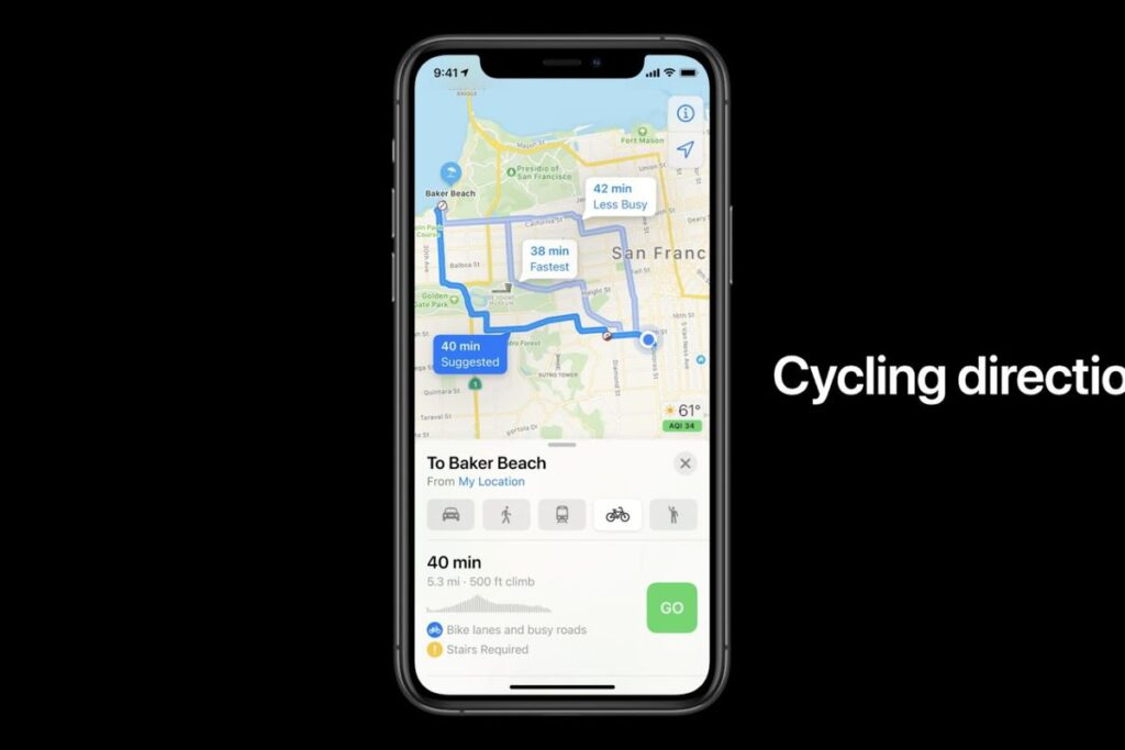 iOS 14 cycling direction