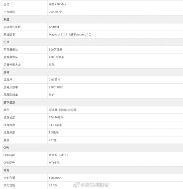 honor x10 max specs, specification of honor x10 max