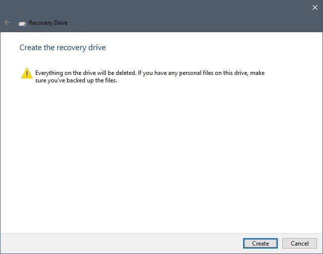 create recovery drive for windows