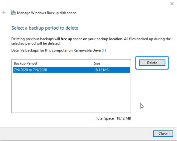 delete backup data