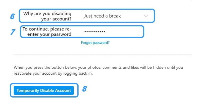 disable instagram account, instagram account disabled