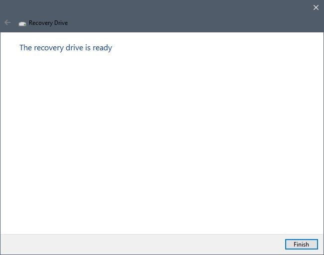 recovery drive created, windows usb recovery drive