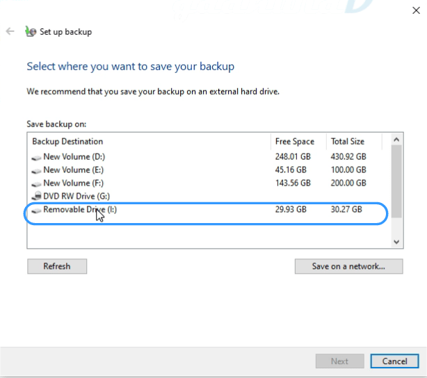 select drive for back up, windows recovery drive