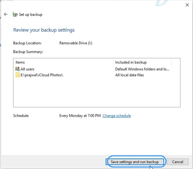 start backup windows