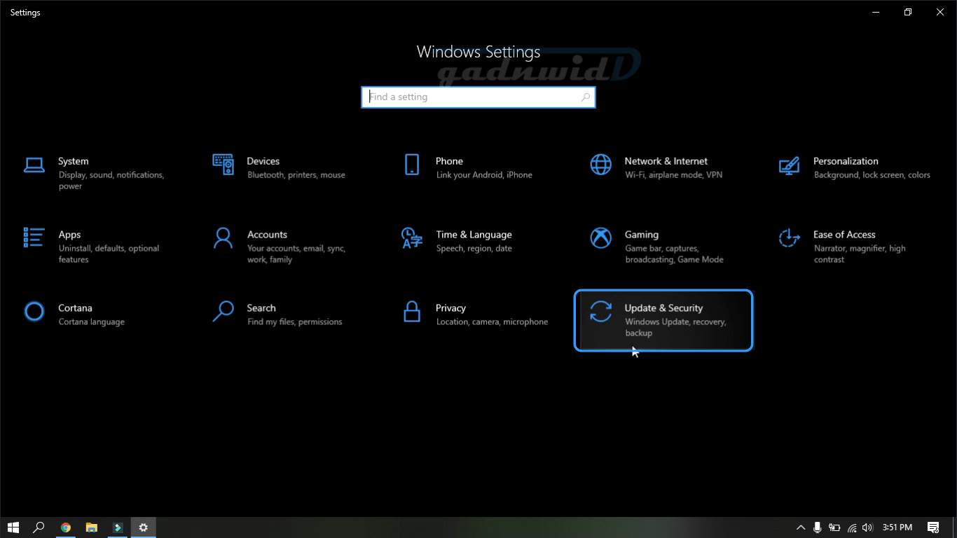 update and security, settings