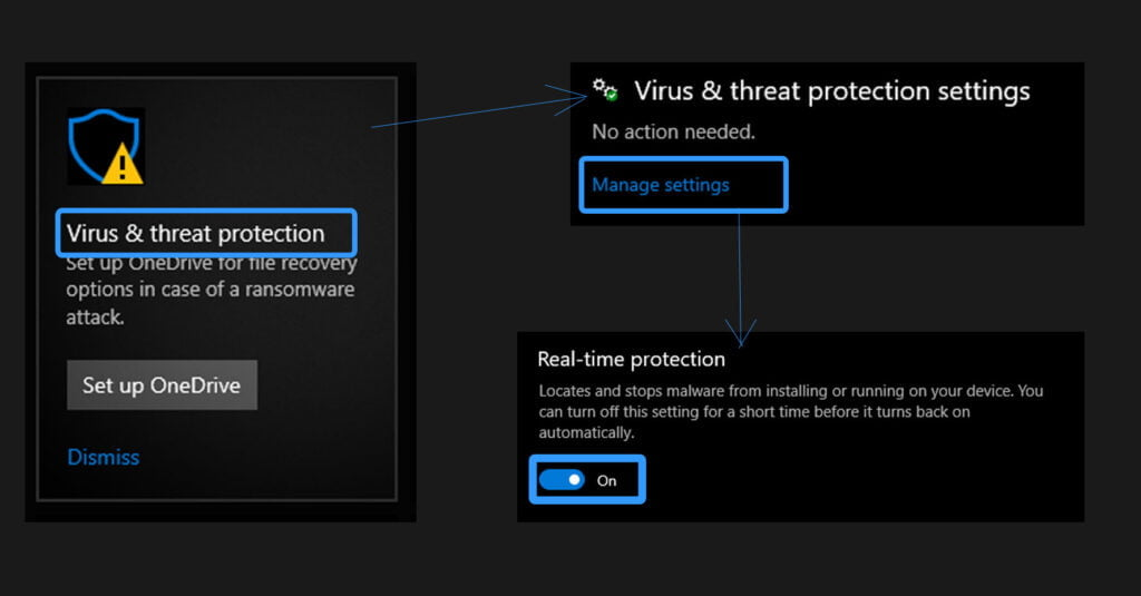 disable windows defender temporarily, enable windows defender