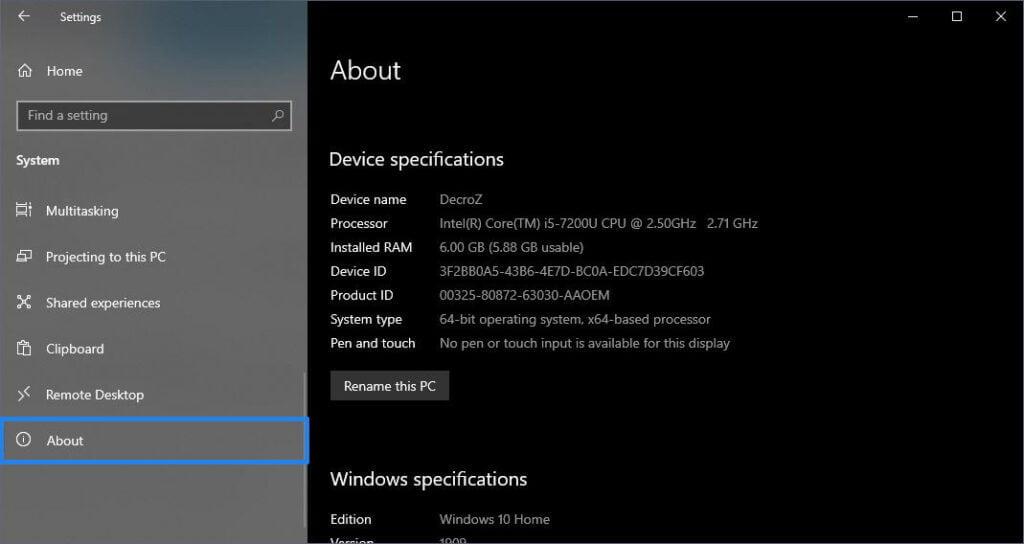 How to check Computer's Full Specification, About