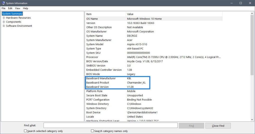 motherboard information  windows 10