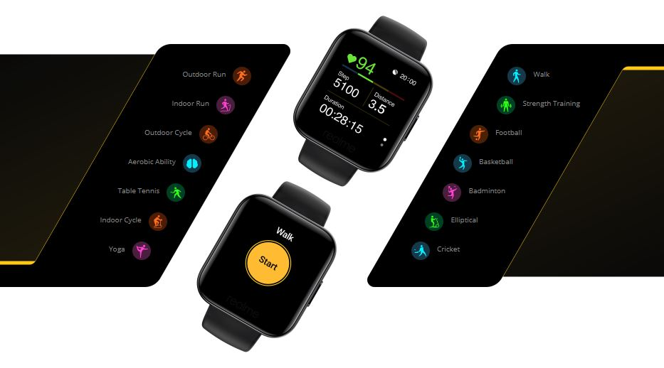 realme watch modes, 14 modes on realme watch