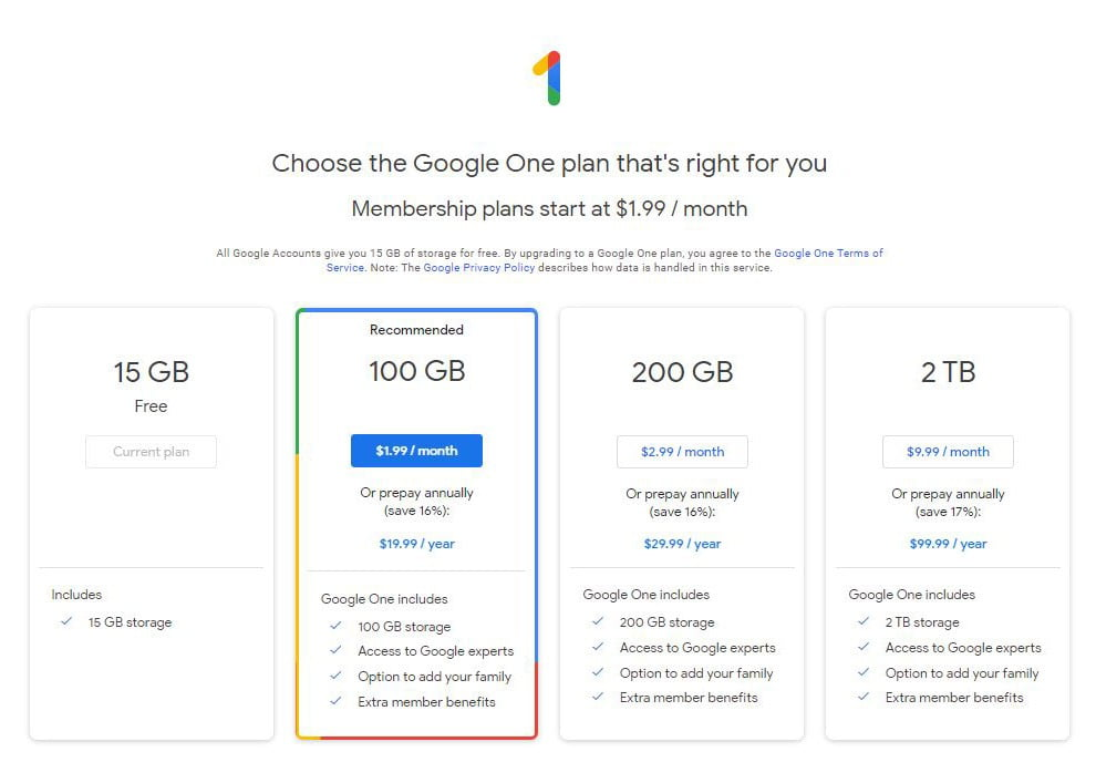 free google account storage space
