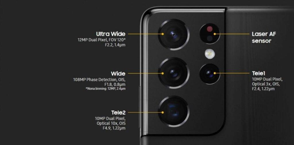 Samsung galaxy S21 Ultra camera specs