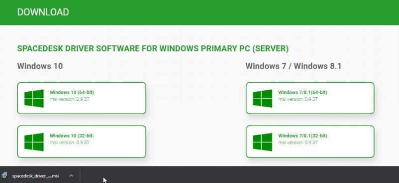 spacedesk driver download file, spacedesk application download link, spacedesk app for windows