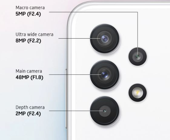 Samsung Galaxy a32 5g cameras, Samsung Galaxy a32 5g camera specifications