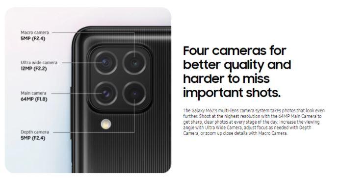 Galaxy M62 camera