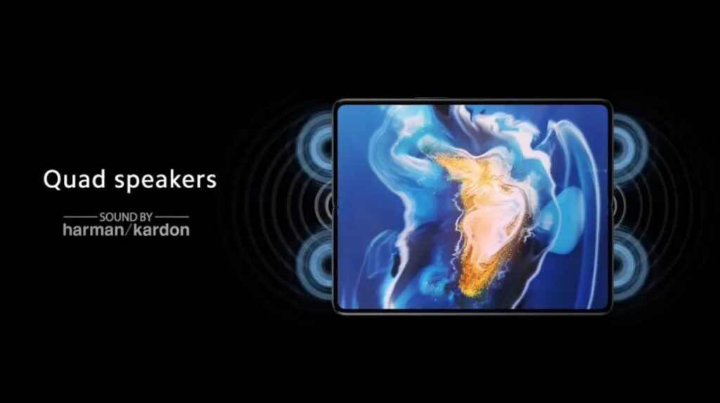 quad speakers of Mi Mix Fold, stereo speakers on Mi Mix Fold, Mi Mix Fold has quad stereo speakers, sound by harman kardon,