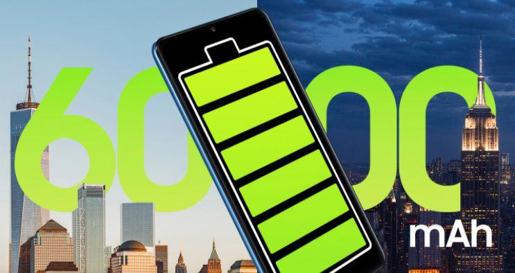 6000 mah battery, smartphone with big battery, huge battery huge juice