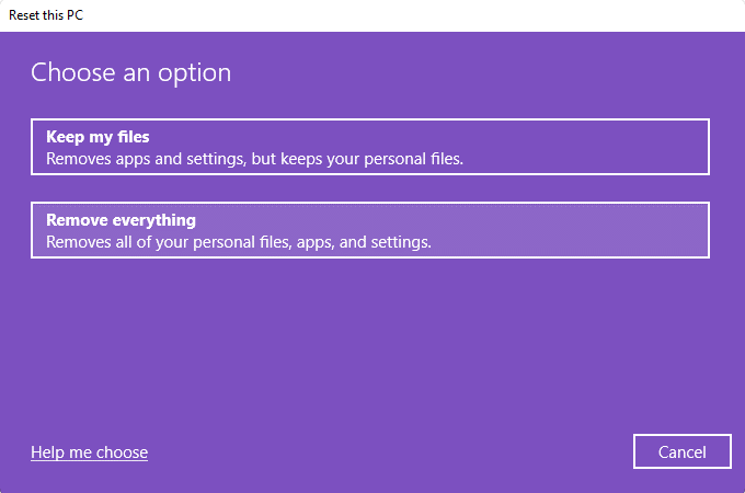 choose whether to keep user files