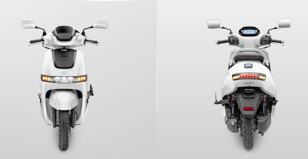 TVS iQube front and back
