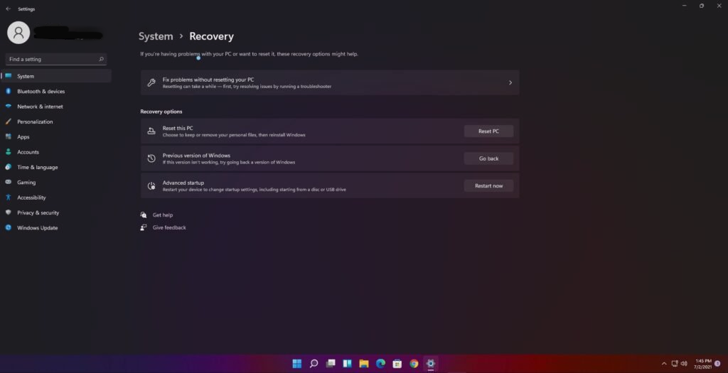 reset pc options